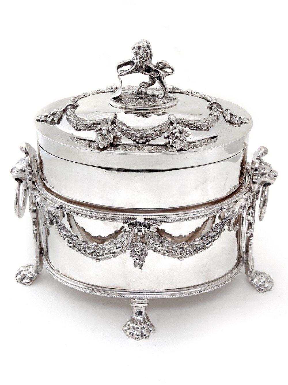 victorian atkin brothers silver plate box with lion finial and removable cast frame