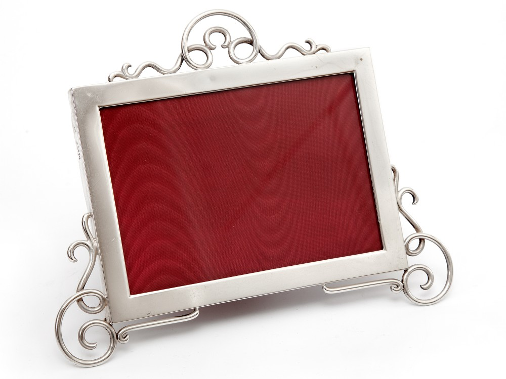 edwardian silver picture photo frame with a plain mount and thick gauge applied scrolling