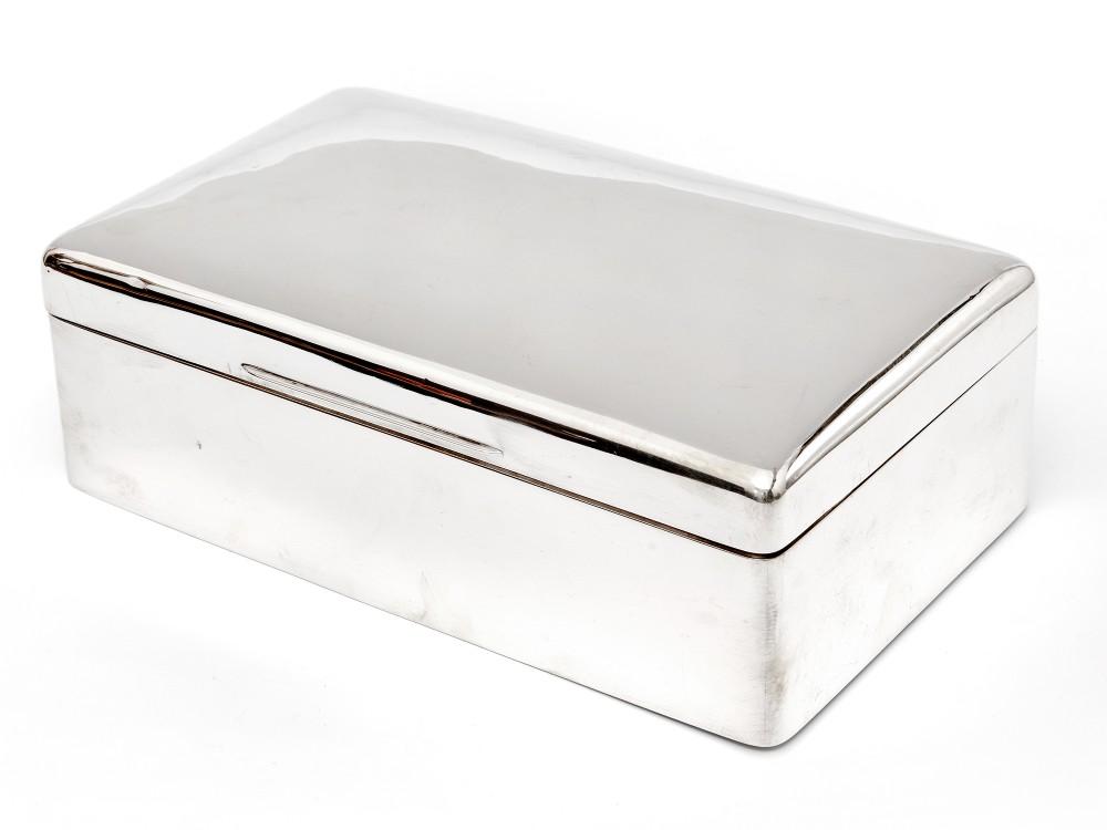 completely plain edwardian william comyns cedar lined silver cigar box