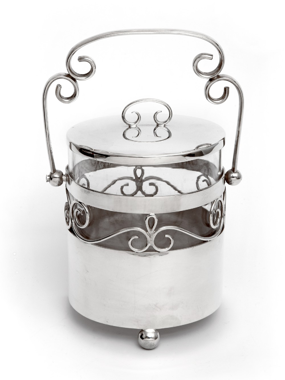 edwardian silver plated barrel or box with a plain body and glass liner
