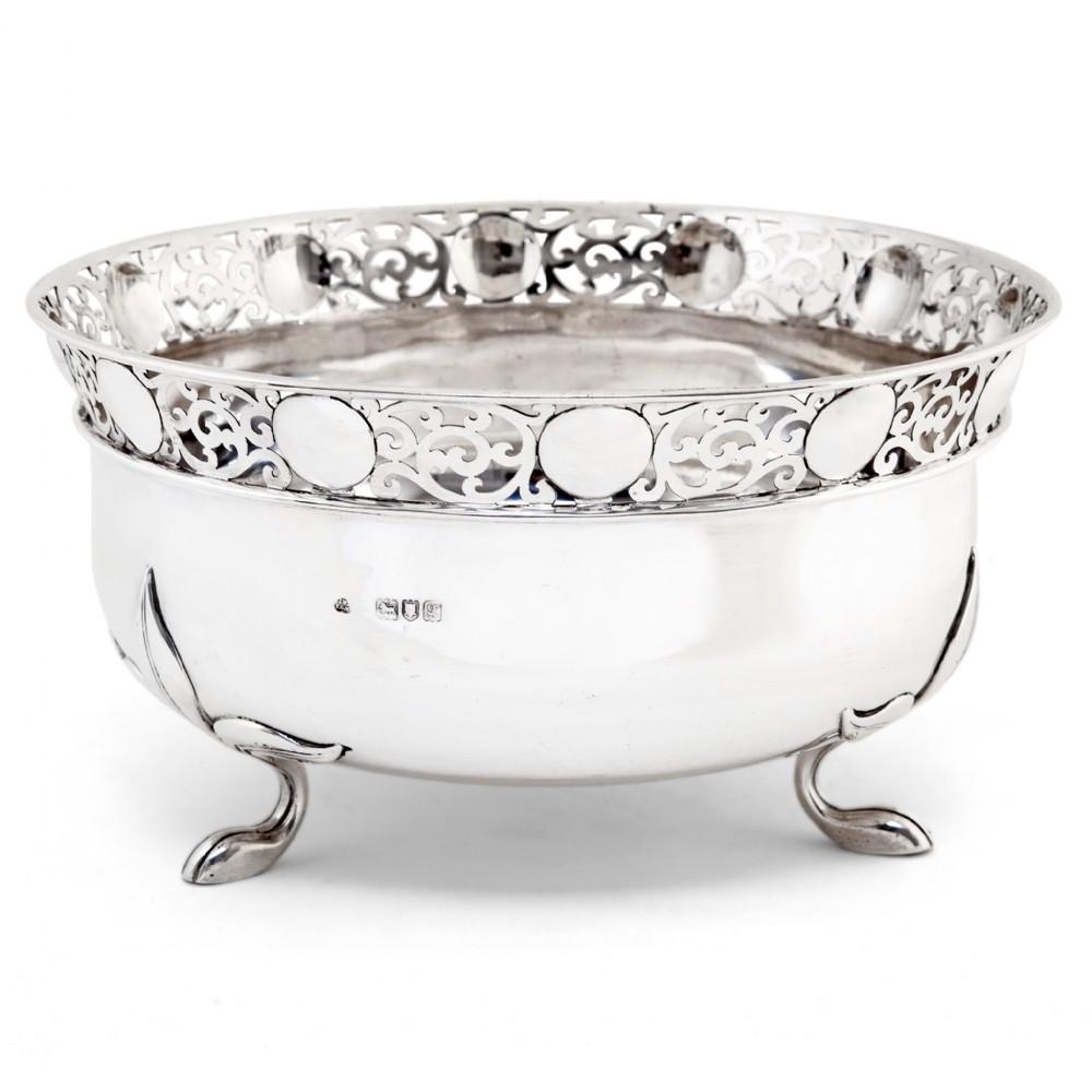 edwardian silver bowl with art nouveau foliage style feet