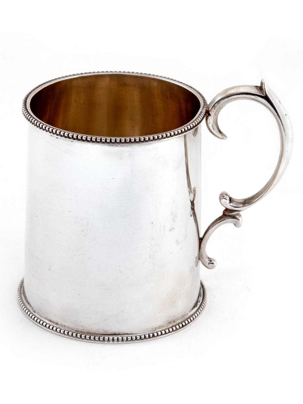 plain edwardian silver christening mug with scroll handle