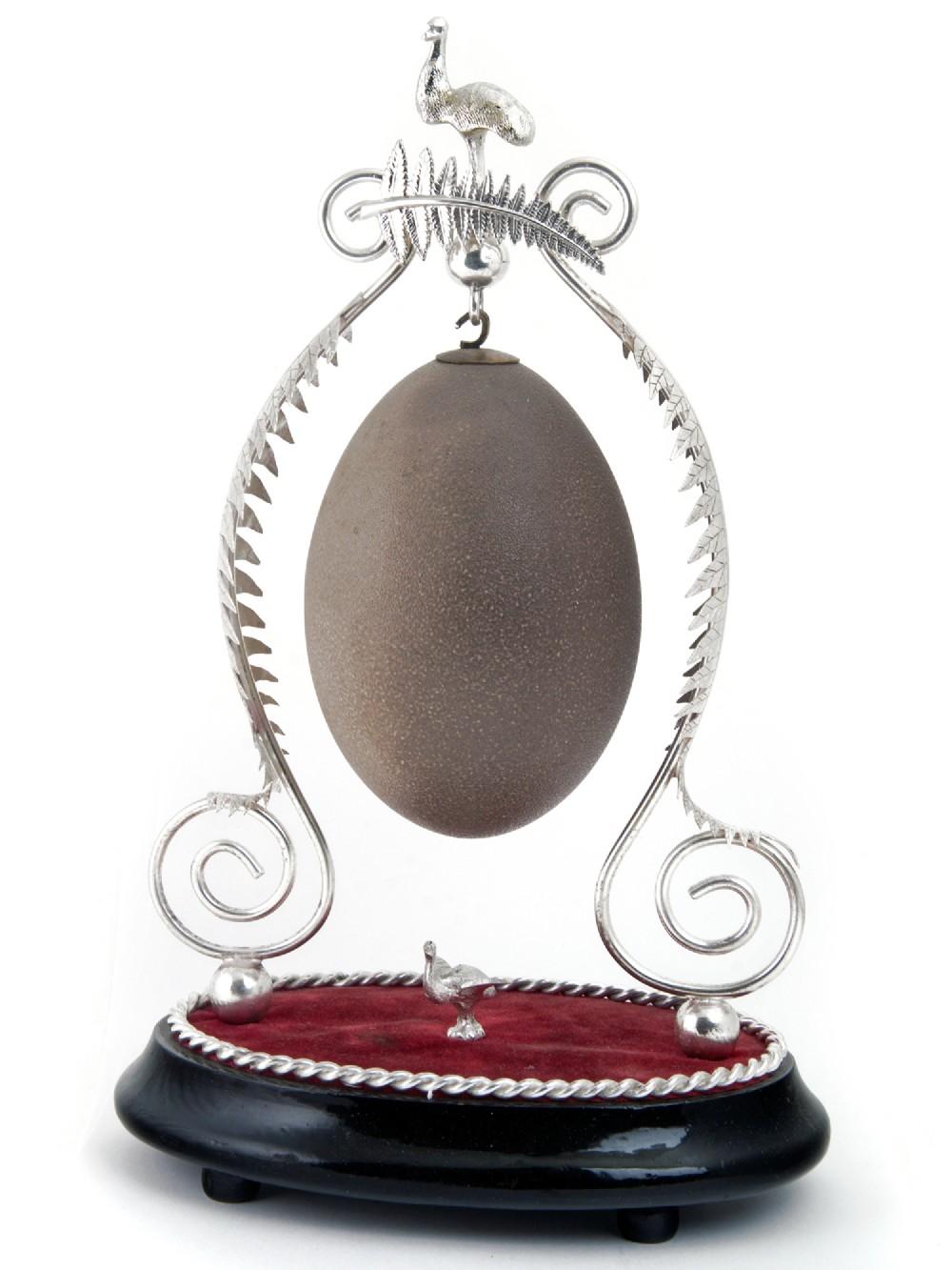 antique australian emu egg silver plated centrepiece