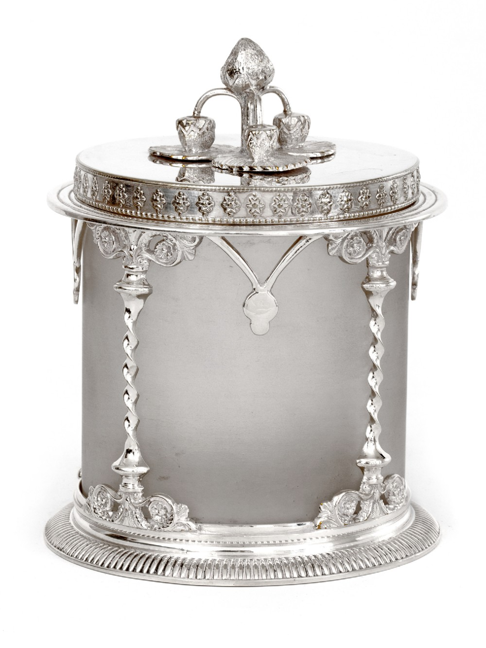 antique silver plated preserve pot with a cast strawberry finial and frosted glass liner