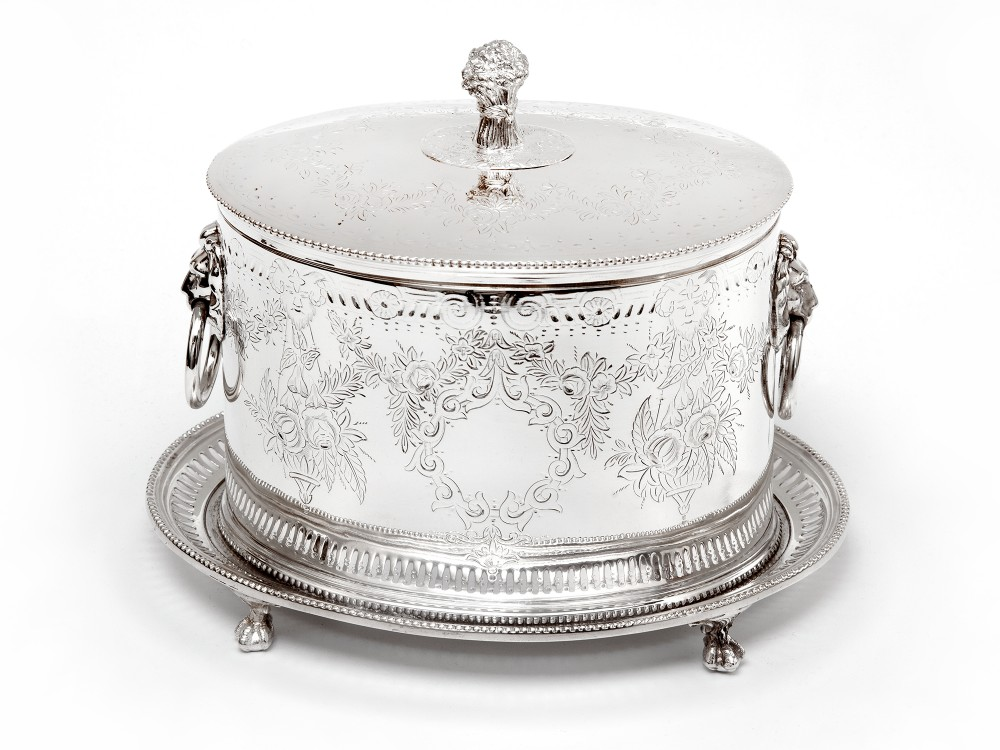 antique horace woodward co silver plated biscuit or trinket box