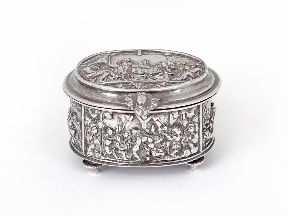 victorian silver plated jewellery box decorated with figural scenes of hunting and drinking