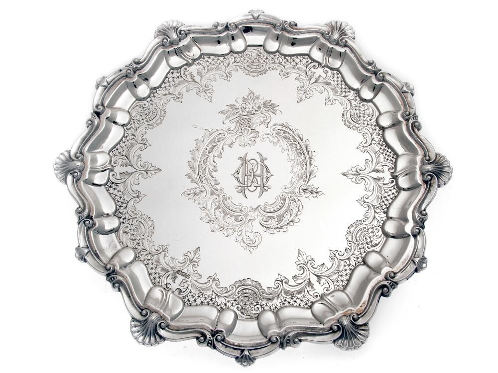edwardian 12 circular silver salver