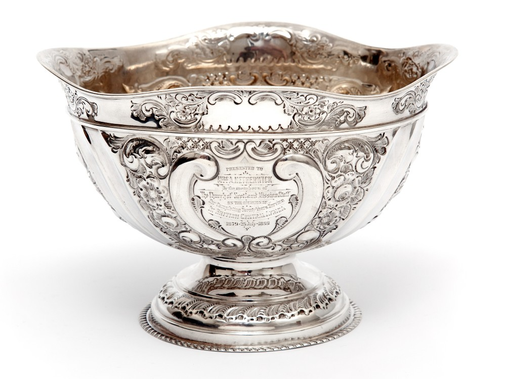 late victorian oval silver fruit bowl embossed with scrolls and flowers