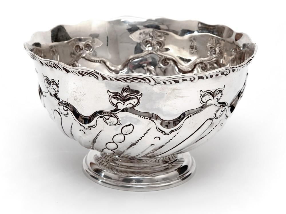 edwardian thomas bradbury son silver rose bowl