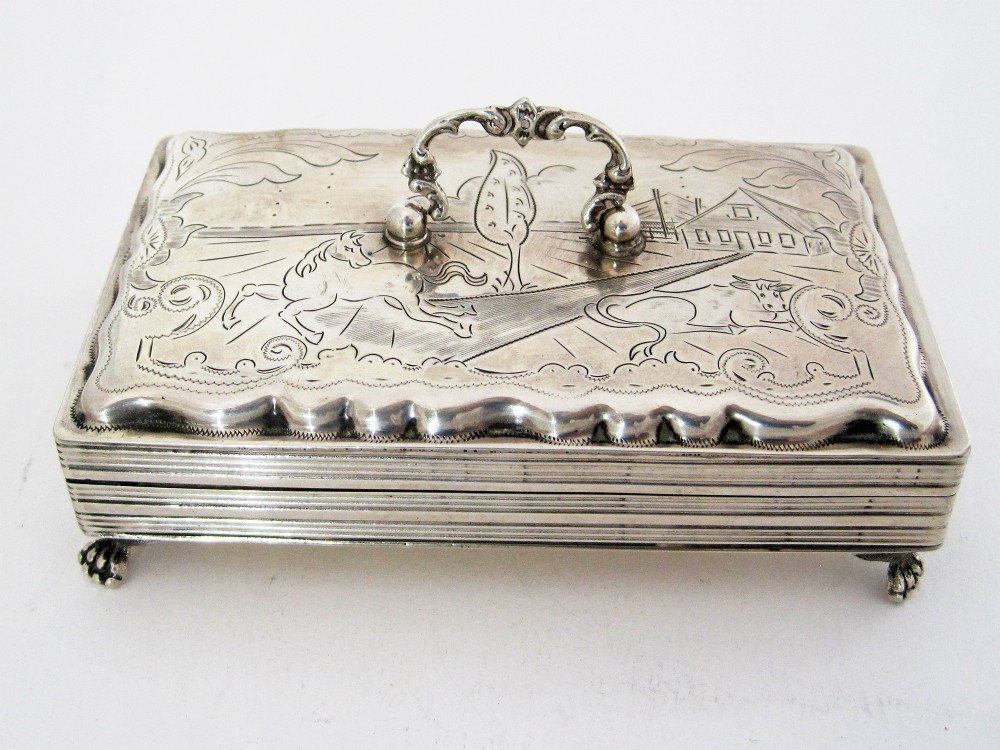 antique dutch silver jewellery box engraved with farm scenes