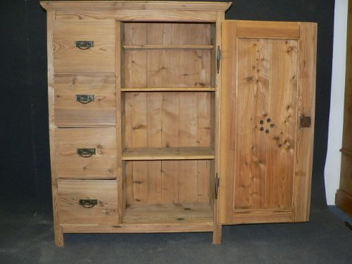 Declaration - Antique Pine Larder Cupboard With 4 Drawers 236376