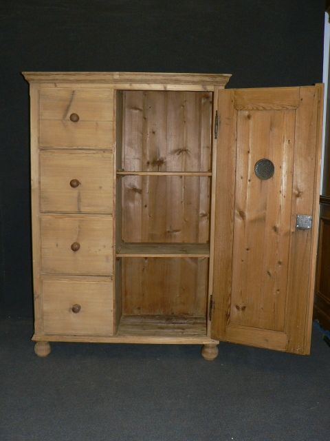 antique pine larder cupboard with 4 drawers - Antique Pine Larder Cupboard With 4 Drawers 248104