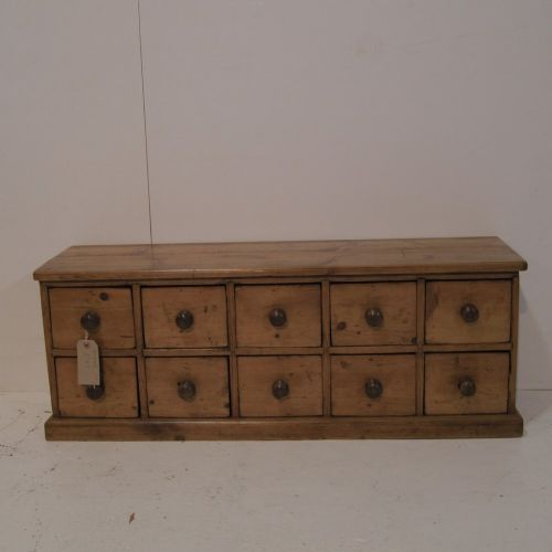 Small Old English Pine Apothecary Bank Of Drawers Accessory Tidy