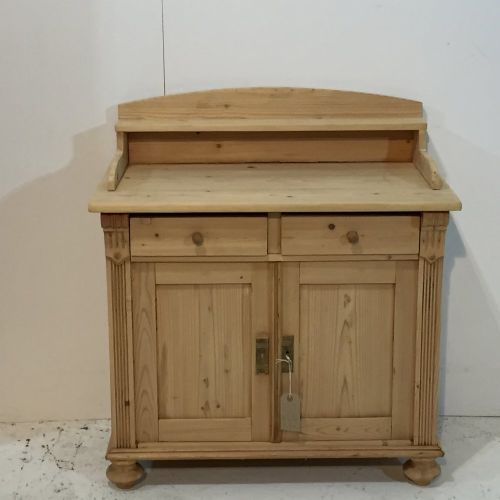 small antique pine cupboard with gallery back - Small Antique Pine Cupboard With Gallery Back 492325