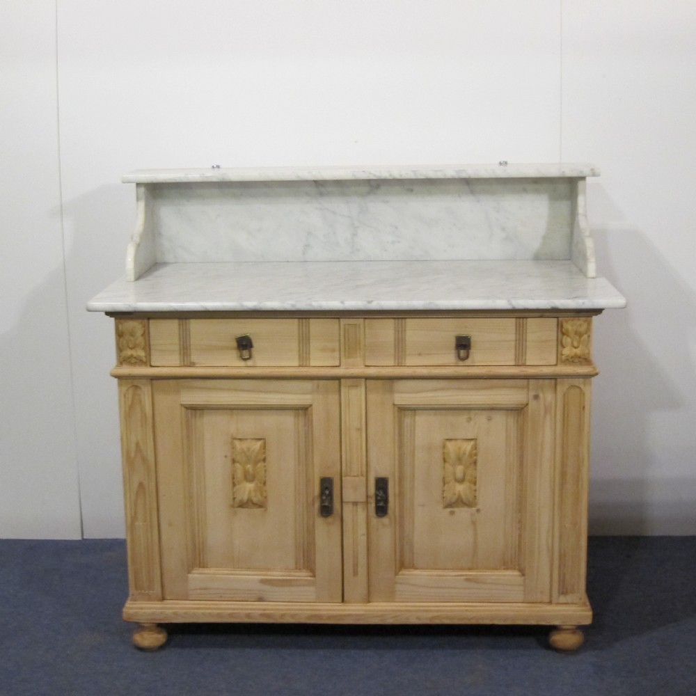 large antique pine cupboard marble top - Large Antique Pine Cupboard - Marble Top 353722 Sellingantiques