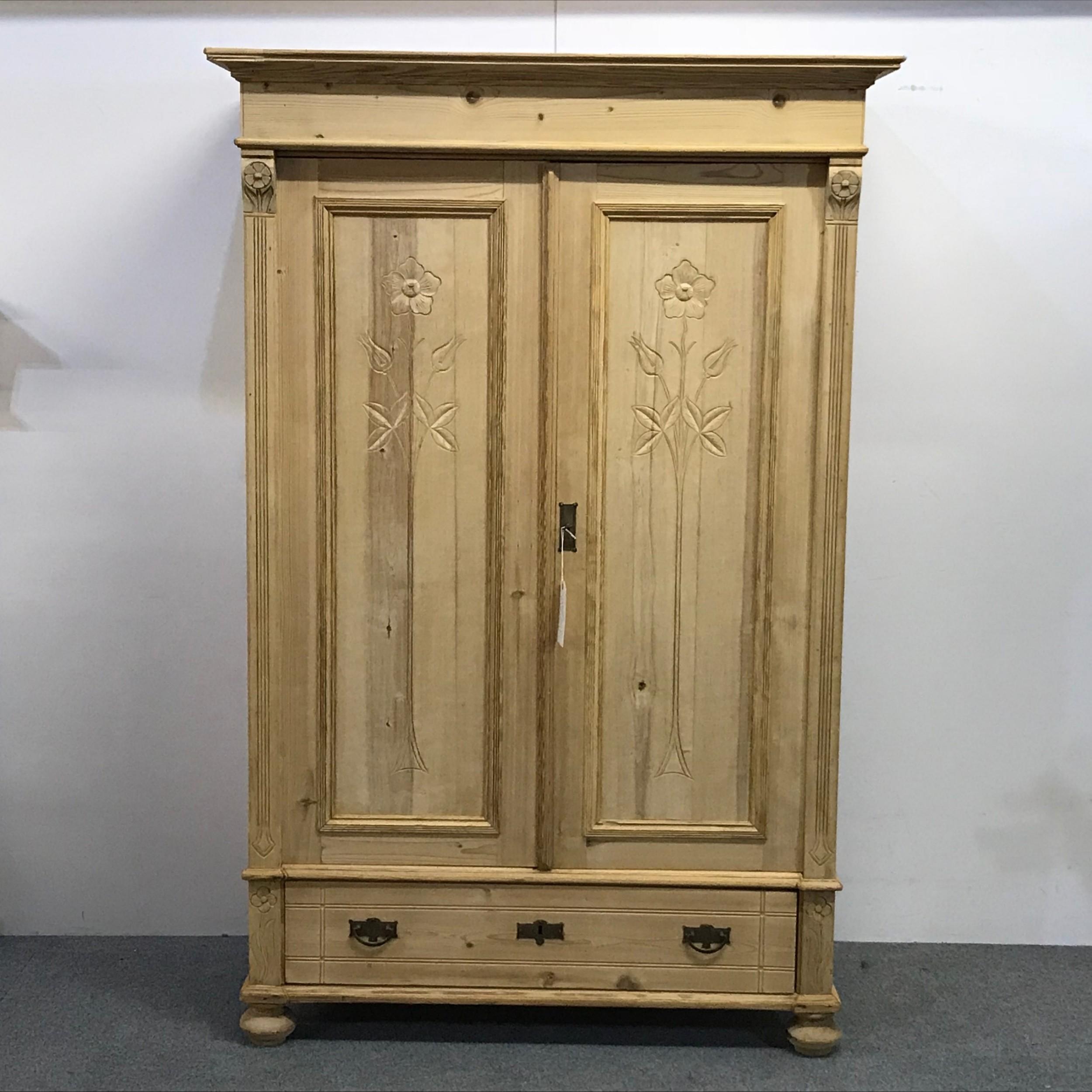 Small & Deep Double Door Antique Pine Wardrobe   9 ...