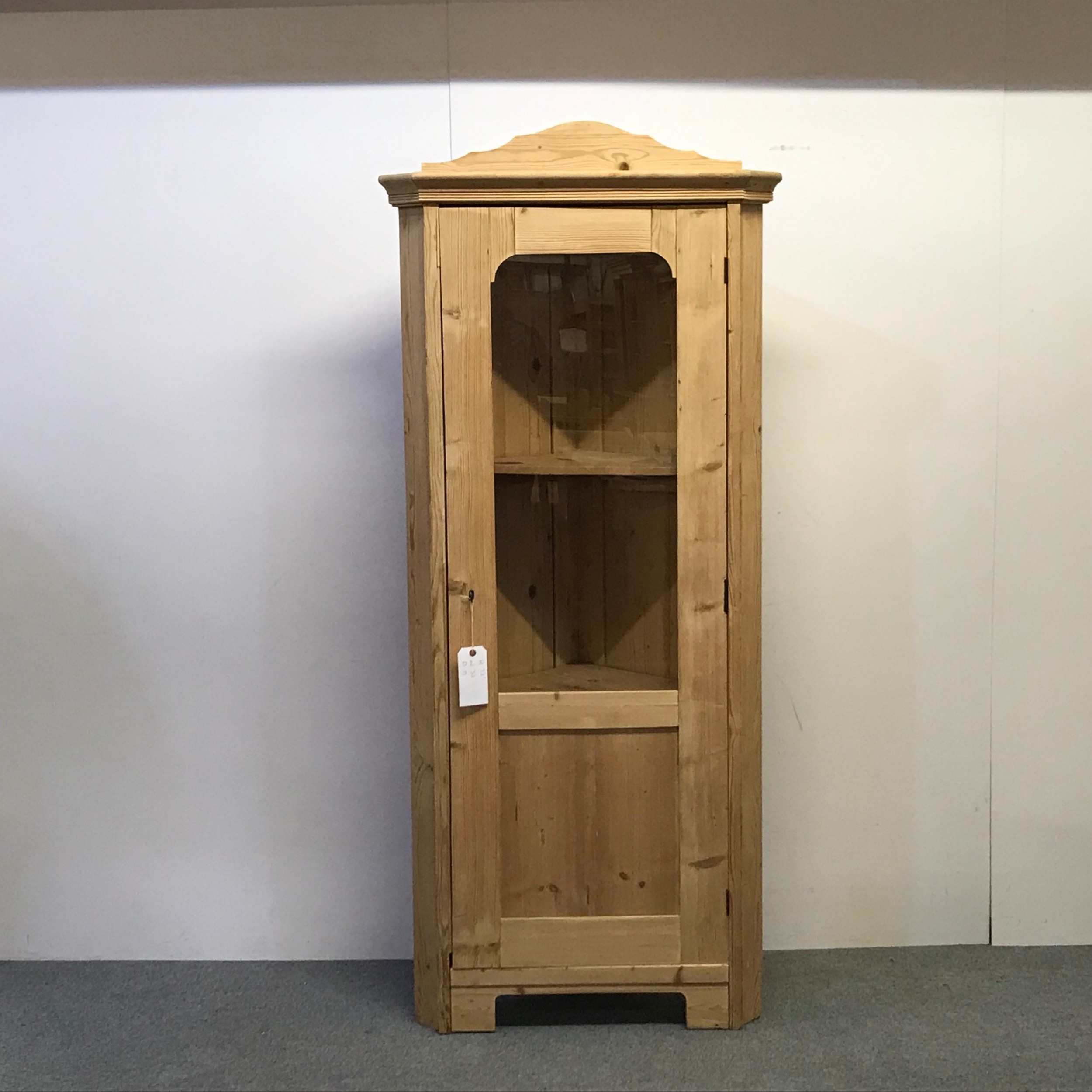 old pine corner display cabinet