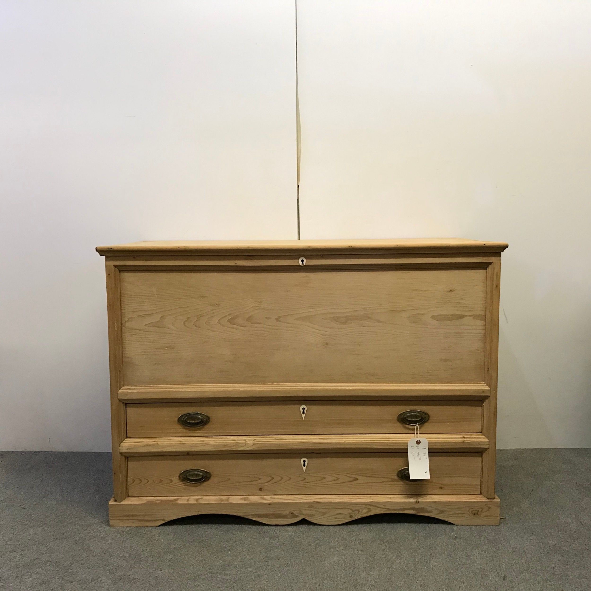 mid victorian english pine mule chest