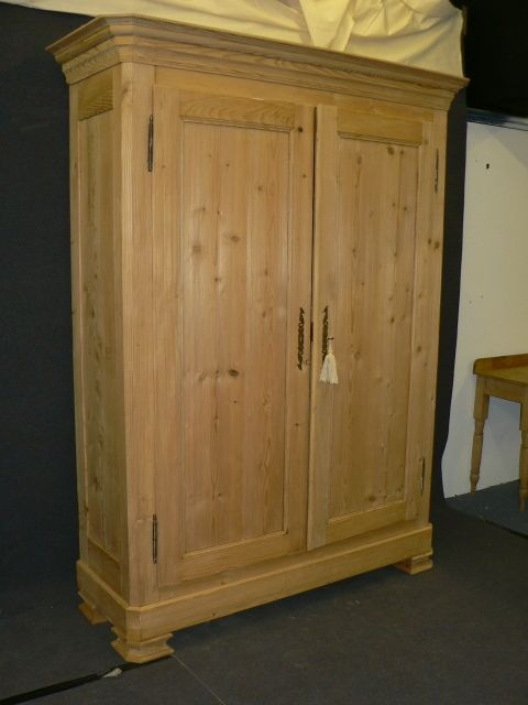 Large Very Tall Antique Pine Wardrobe