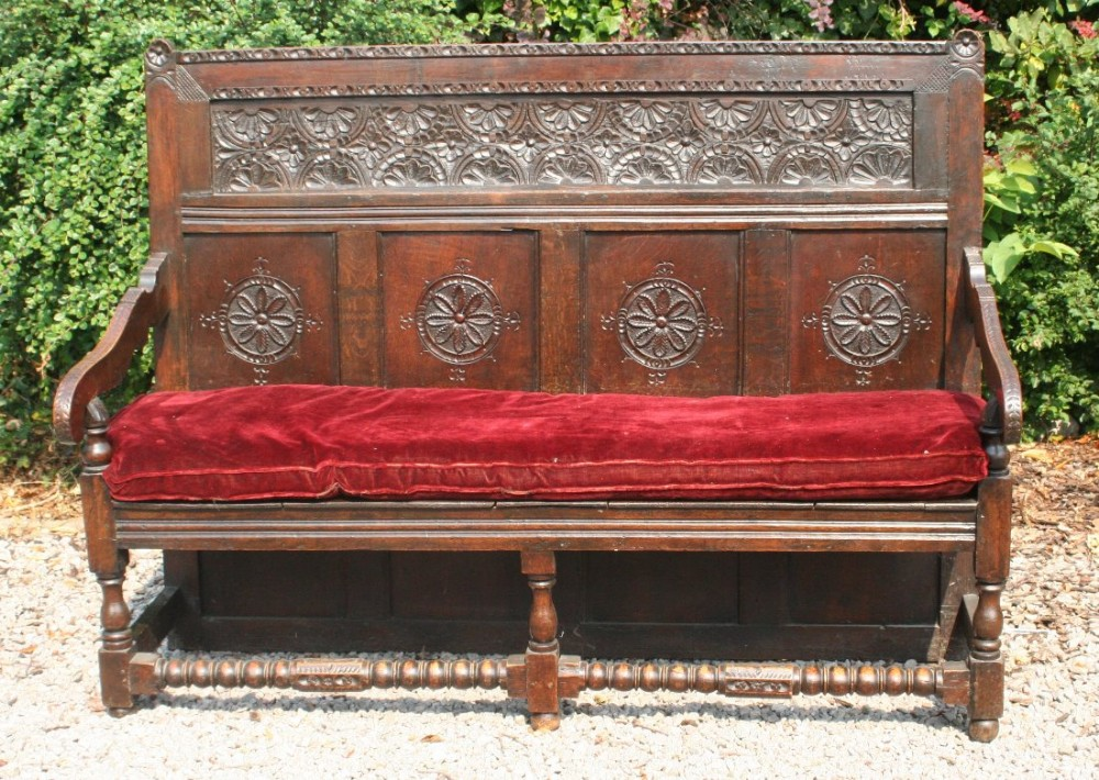 19th century carved oak settle
