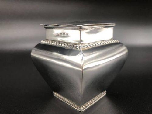 edwardian solid silver tea caddy