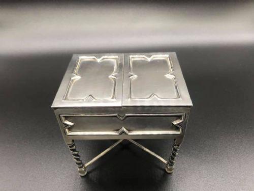 unusual solid silver jewellery box