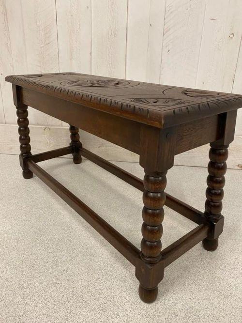 carved oak stool