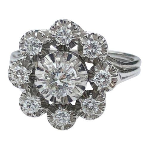 mid century diamond platinum gold cluster ring