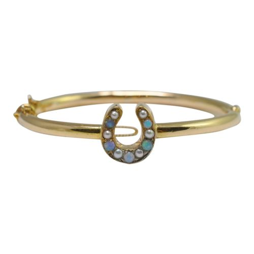 victorian opal pearl and 18ct gold horseshoe bangle