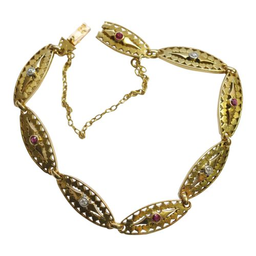 antique french 18ct gold filigree ruby diamond bracelet
