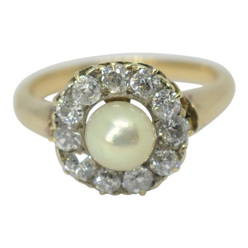 antique pearl diamond cluster gold ring