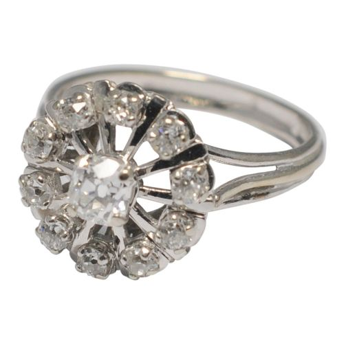 french mid century diamond cluster gold ring