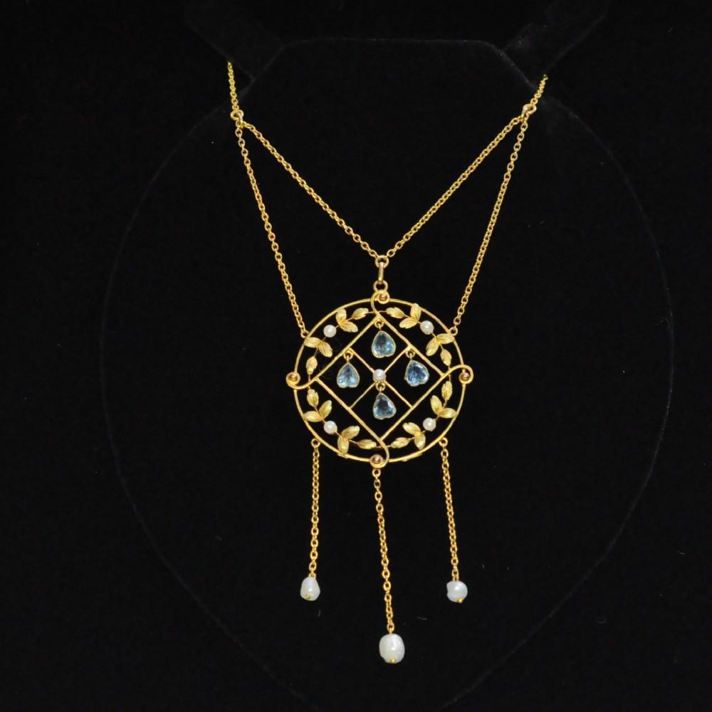 edwardian aquamarine pearl and 15ct gold pendant