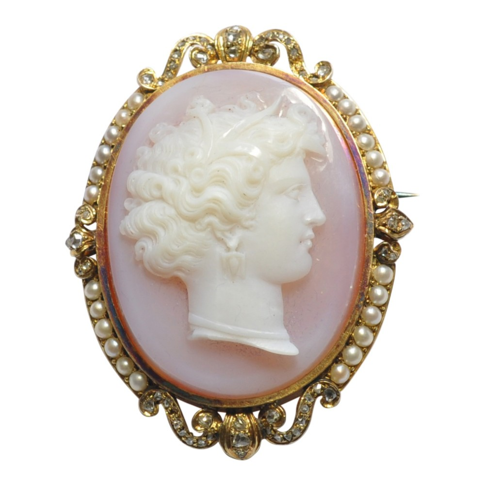 french 19th century agate diamond 18ct gold cameo