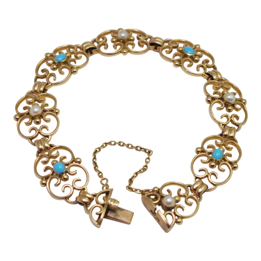 victorian 15ct gold pearl turquoise bracelet