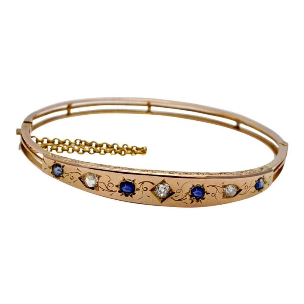 victorian sapphire diamond gold bangle
