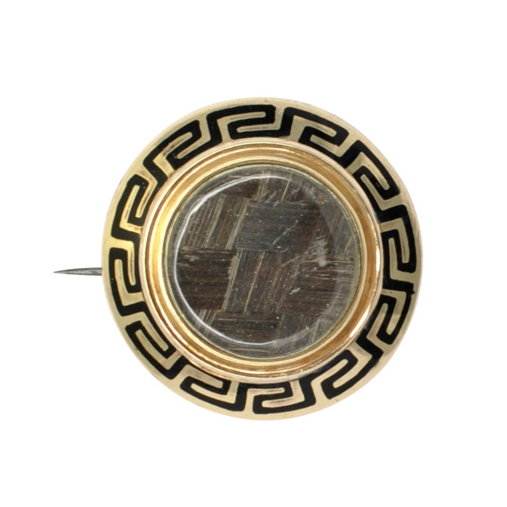victorian gold enamel mourning brooch