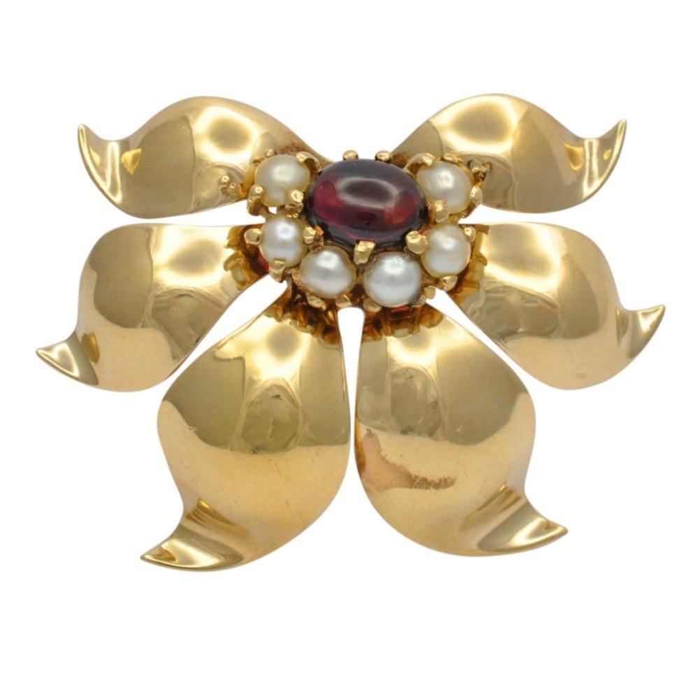 retro garnet pearl 14ct gold brooch