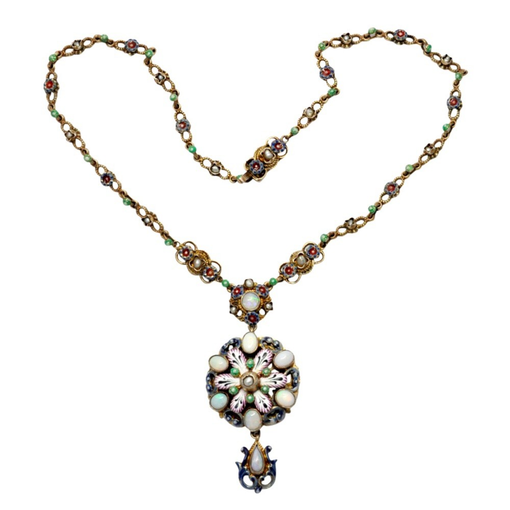 austro hungarian opal enamel silver gilt necklace