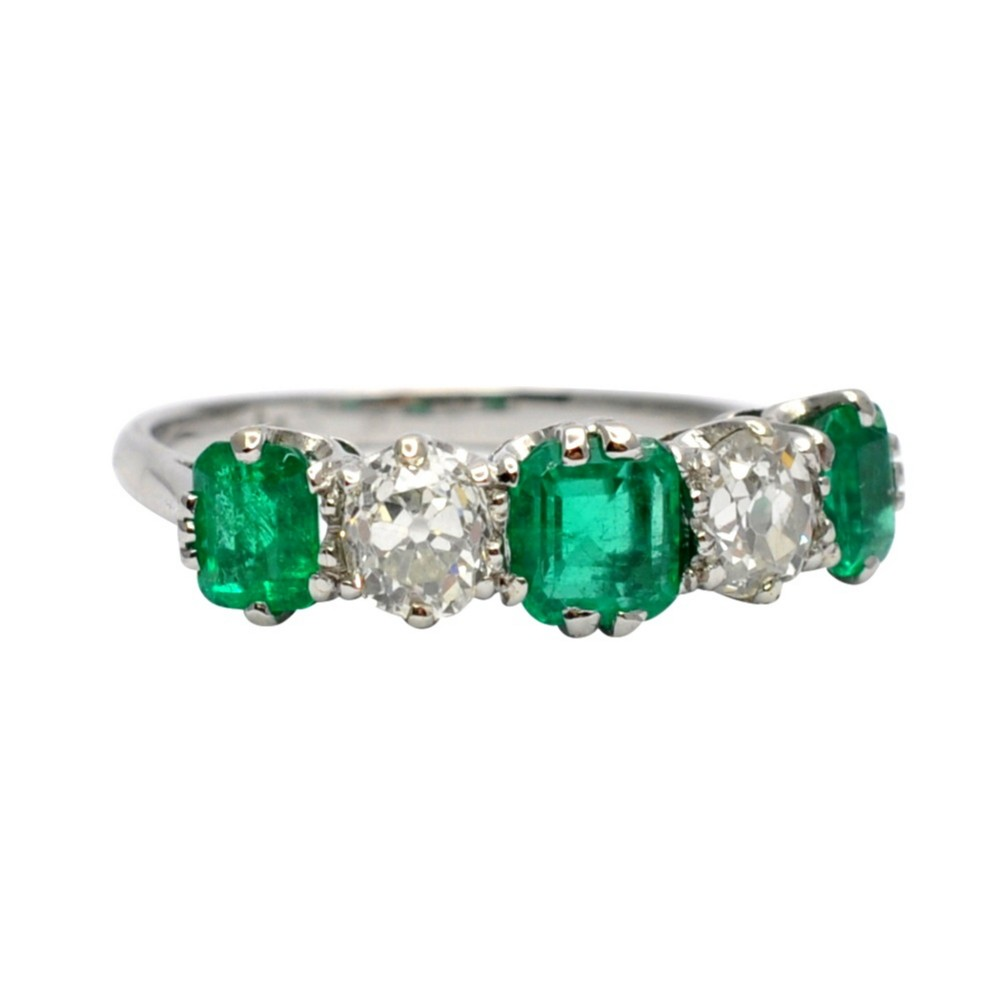 antique columbian emerald diamond ring