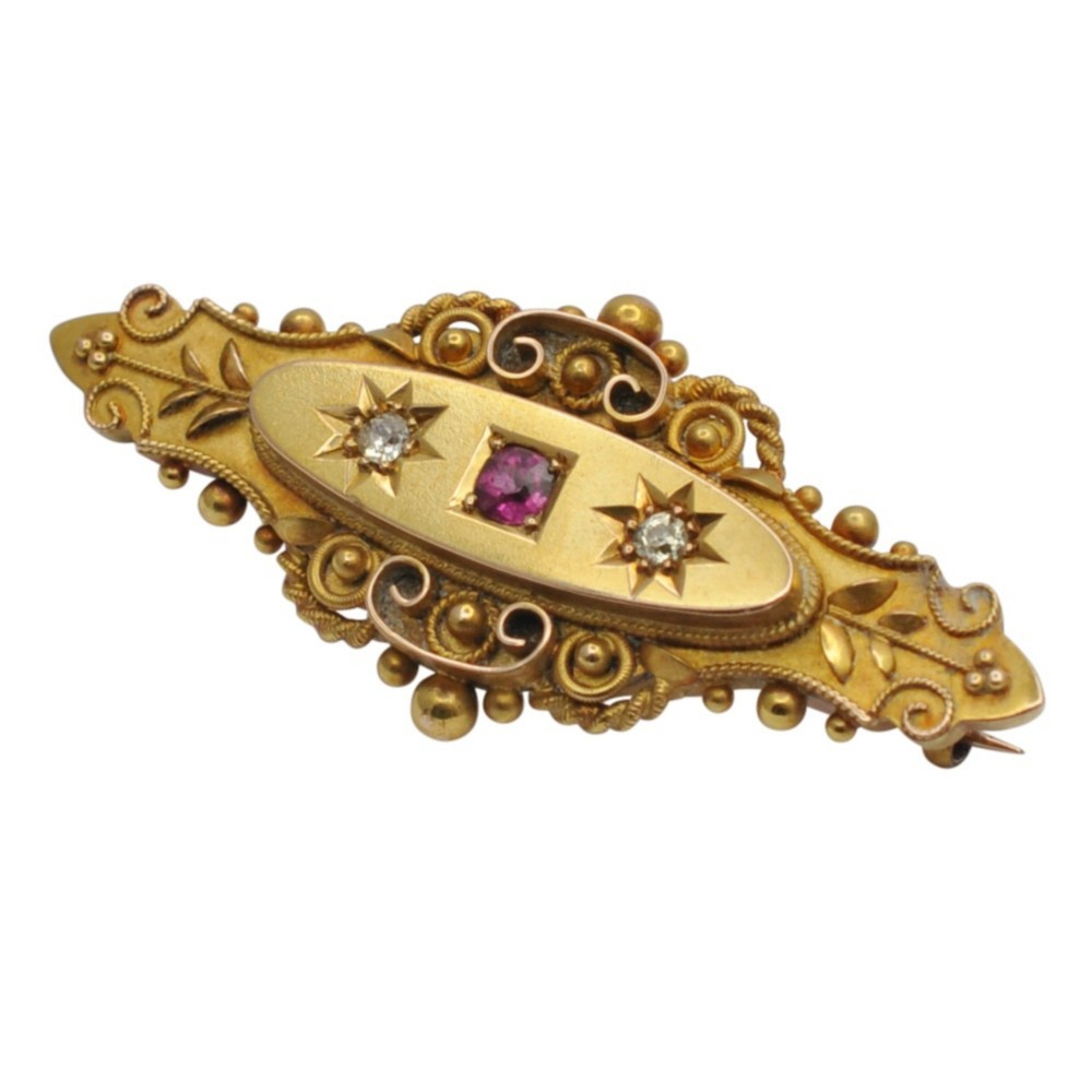 antique edwardian 15ct gold ruby diamond brooch