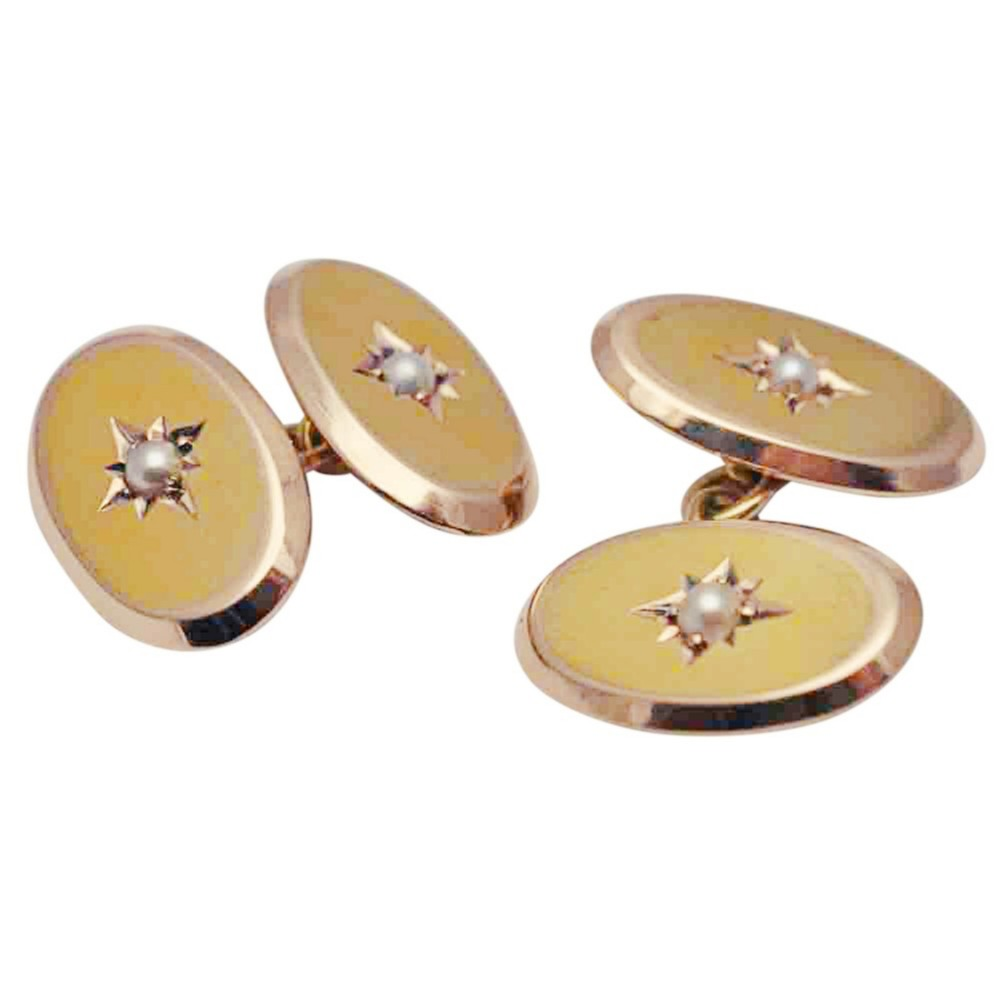 victorian 15ct gold pearl cufflinks