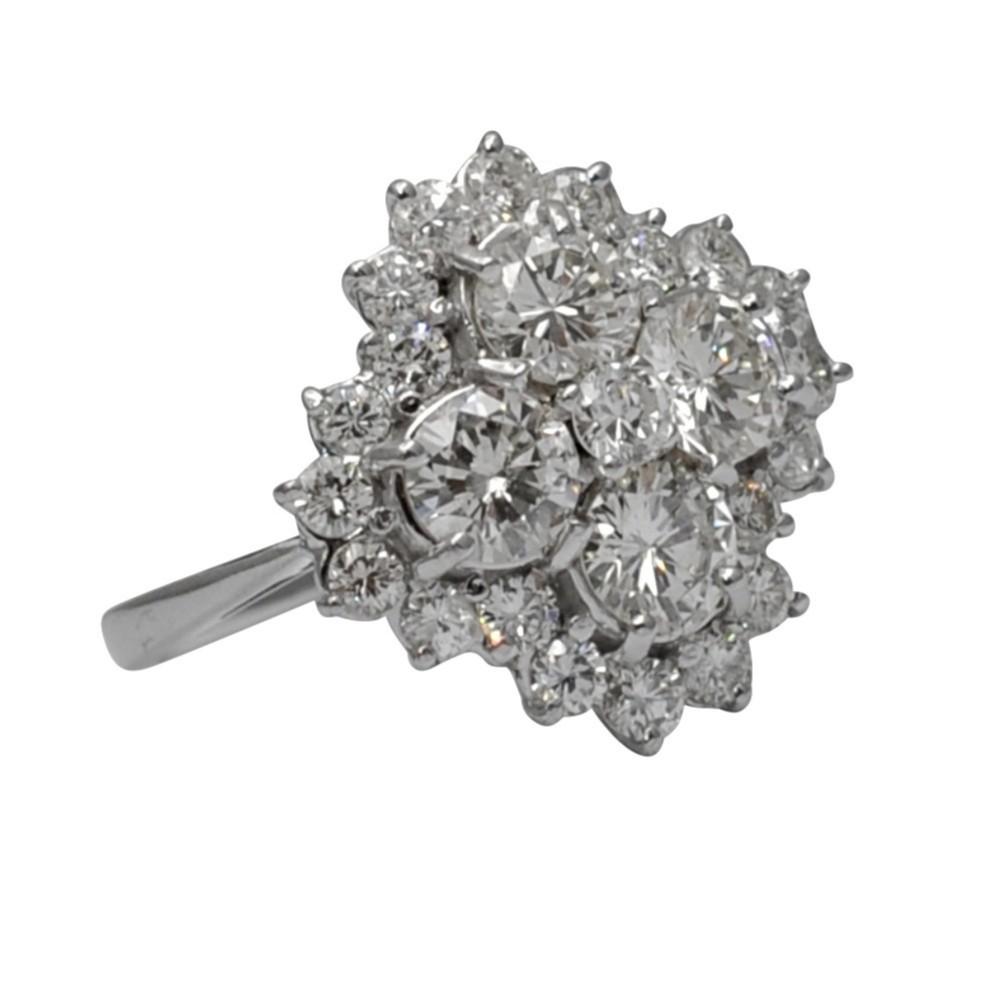 mid century diamond cluster 18ct gold ring