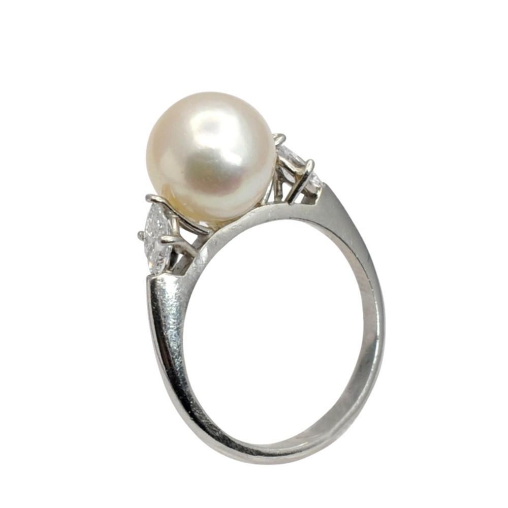 vintage pearl diamond platinum ring