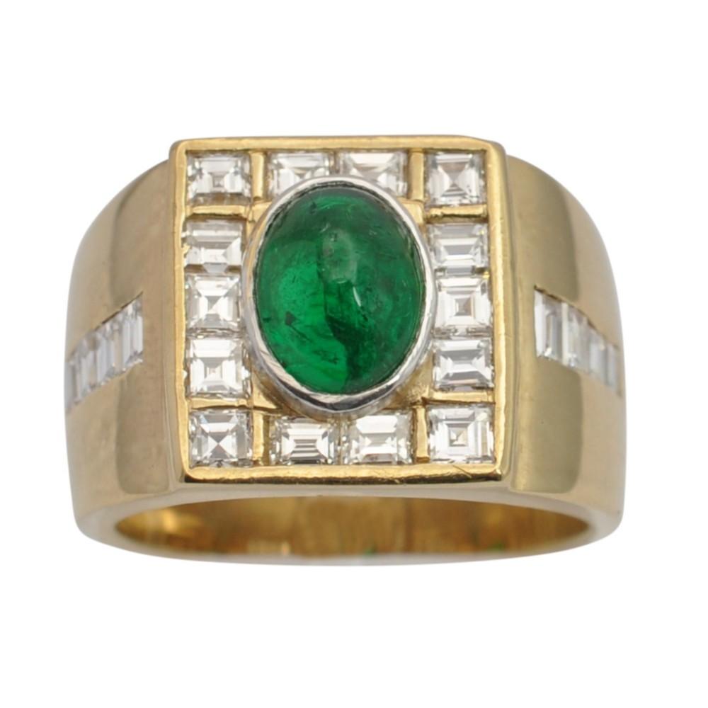 cabochon emerald diamond gold ring