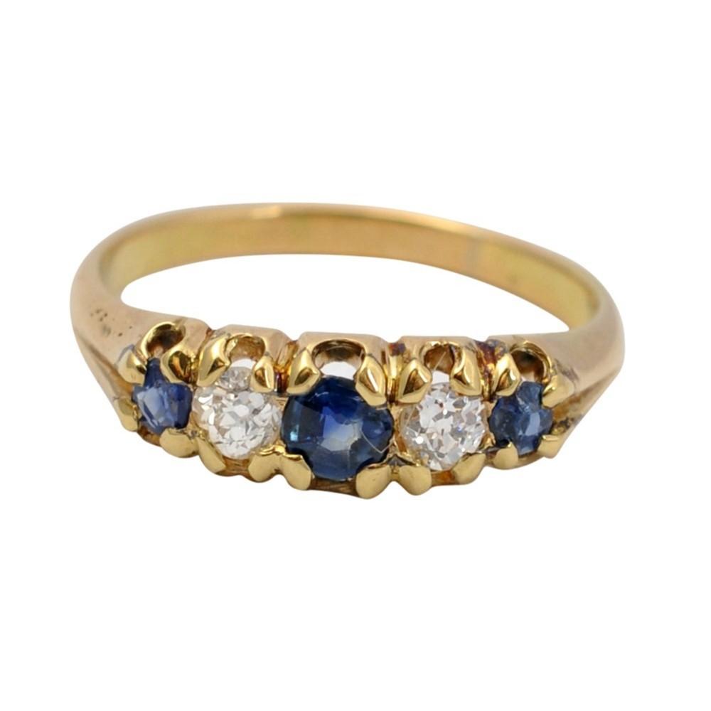 victorian sapphire diamond 5 stone gold ring