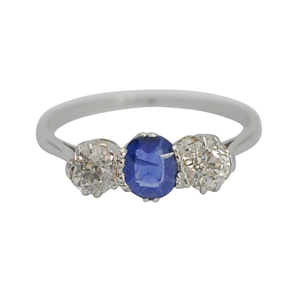 antique sapphire diamond 3 stone platinum ring