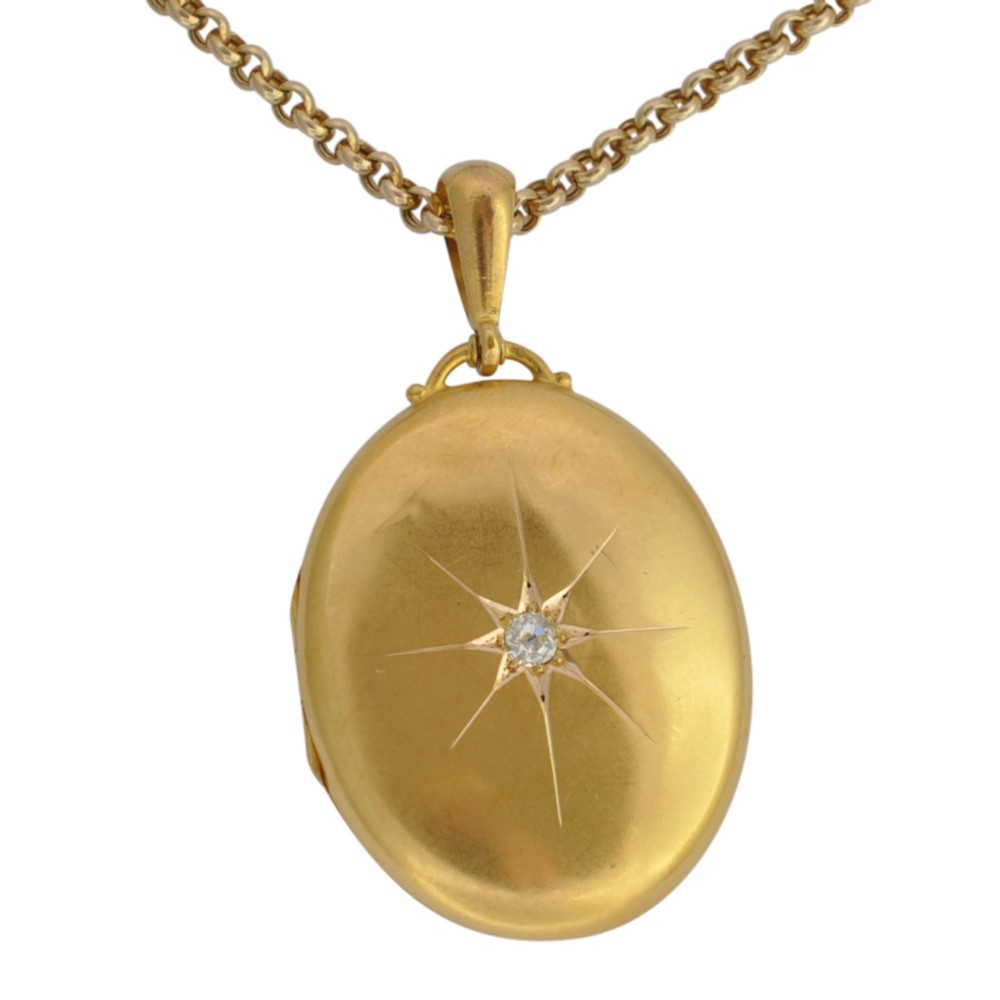 antique victorian 18ct gold diamond locket