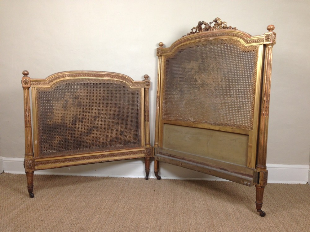 A victorian gilt wood and caned bed c 1870 242993 for Victorian woodwork