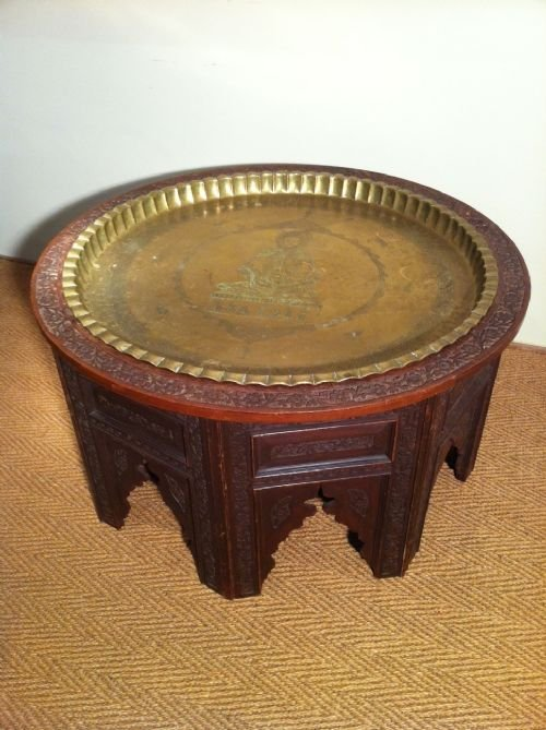 Massive Anglo Indian Carved Teak Coffee Table With Inset Brass